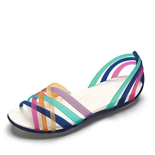LXYYBFBD Sandalen Voor Vrouwen, Vrouwen Regenboog Jelly Sandalen Candy Kleur Peep Teen Vrouwelijke Flat Beach Schoenen Donker Blauw Slip Op Slides Casual Dames Zomer Schoenen