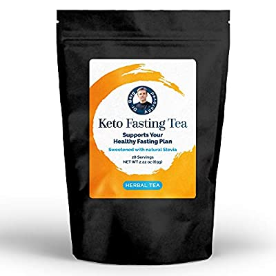 Dr. Berg's Keto Fasting Tea (Sweetened) Caffeine-Free - an Appetite Suppressant Rooibos Herbal Tea Drink to Help Reduce Hunger for Weight Loss - Dietary Supplement (Solo) by The Health Wellness Inc