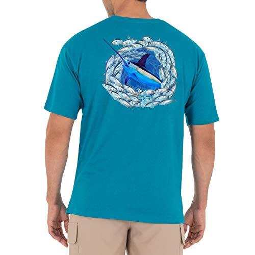 Guy Harvey Men's Offshore Haul Swordfish Short Sleeve T-Shirt, Caribbean Sea Swordfish, X-Large