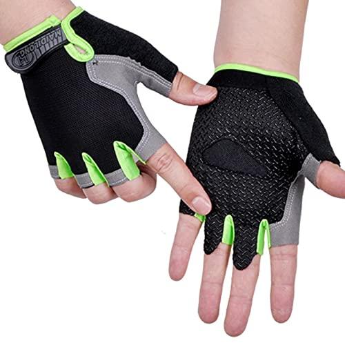 AOOF Guantes deportivos para hombre y mujer, antideslizantes, resistentes al sudor, con medio dedo, absorción de impactos, antideslizantes, transpirables, para moto y bicicleta de montaña, talla XL