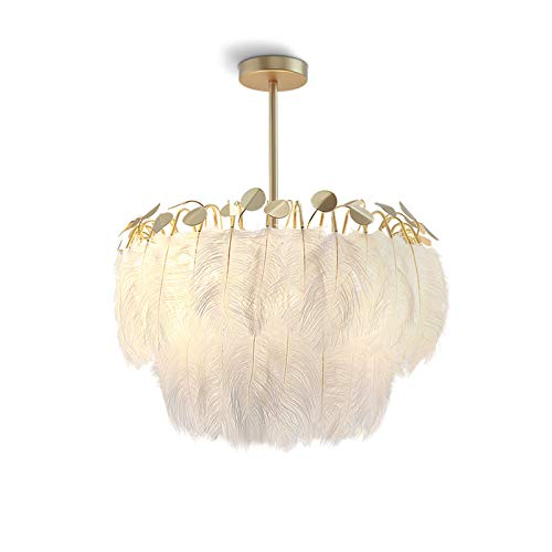 Pluma Lámpara Colgante,Romántico Candelabro Blanco Pluma Sombra Colgante Lámparas De Araña Personalidad Arte Lámpara De Techo Accesorio Para Sala De Estar Dormitorio Sala De Chicas-Dorado 55x65cm(22x2