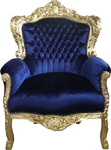 Casa Padrino Barock Sessel 'King' Royalblau/Gold
