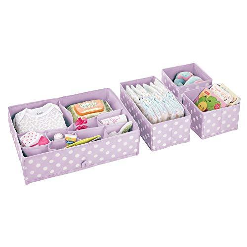 mDesign bac de rangement en lot de 2 – rangement pour tiroirs à pois avec chacun 2 compartiments – organiseur de tiroir pour la chambre pour enfant, pour vêtements et accessoires – violet et blanc