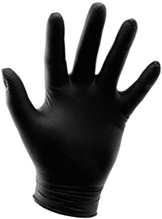 Grower's Edge Powder Free Diamond Textured Nitrile Glove, Black - Large (100/Box)