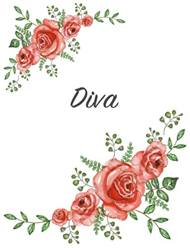 Diva: Personalized Notebook with Flowers and First Name – Floral Cover (Red Rose Blooms). College Ruled (Narrow Lined) Journal for School Notes, Diary Writing, Journaling. Composition Book Size