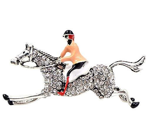 Broche paard en Jockey van staal.