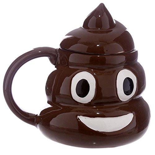 Close Up Emoticon Tasse Poop Kackhaufen mit Deckel - braun, handbemalt, aus 100% Keramik, Fassungsvermögen ca. 450ml.