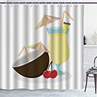 BLSYP cortina de la ducha Multicolor Shower Curtain/Alcohol, Illustration of Pina Colada Cocktail Coconut and Cherries Exotic Summer Beverages, Multicolor/Polyester Fabric Bathroom Decor Set with Hook