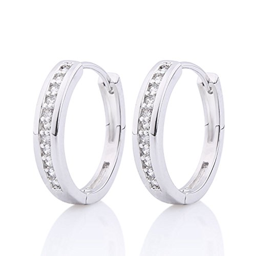 GULICX CZ Crystal Hoop Stud Earrings White Gold Plated Silver Tone Channel Setting - Diameter 23mm