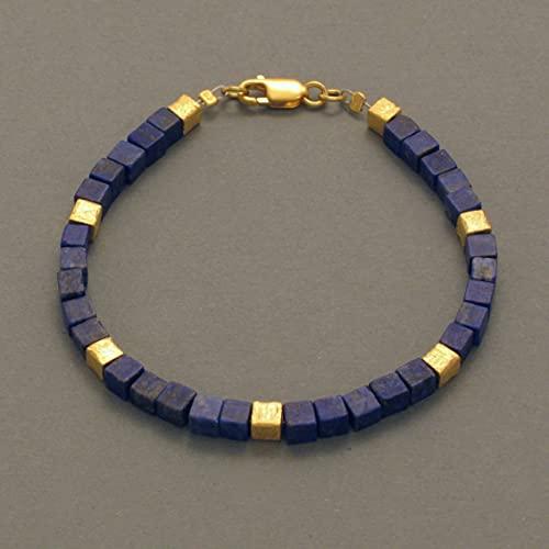 Pulsera de lapislázuli, cubo, bañado en oro