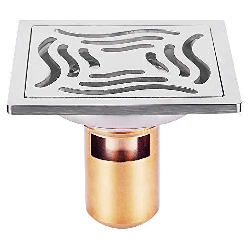 Voixy Bodenablauf für Badezimmer, Küche, Balkon, aus Edelstahl 304, 10 x 10 cm (521, tief)