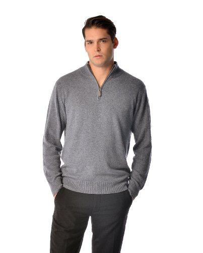 캐시미어 부티크: 남자 100% 순수 캐시미어 하프 ZIP 풀오버 스웨터(3색 크기: S | M | L | XL)
