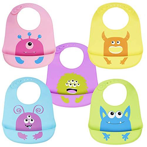 CHUCKLE 5 Pz Baberos Suave de Silicona para Bebés, Monstruos Lindos - Ajustable y Impermeable | Sin BPA