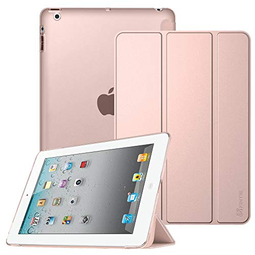 Fintie Case for iPad 2 3 4 (Old Model) - Lightweight Smart Slim Shell Translucent Frosted Back Cover Auto Wake/Sleep for iPad 4th Generation Retina Display, iPad 3 / iPad 2, Rose Gold