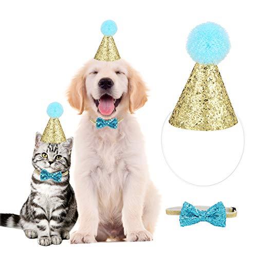 Hund Geburtstag Hut, YOUTHINK Haustier Geburtstagsset mit goldenem Pailletten Hut und Blauem Paillettenknoten mit Verstellbarem Hutseil und Nackengürtel für die Meisten Hunde Katzen oder Andere