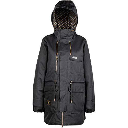 L1 EMMA´20 Damen, Funktions- Snowboardjacke, 2 Lagenjacke, Langer Schmaler Schnitt mit Handcuffs im Streetstyle,, M, BLACK