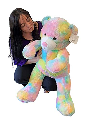 Jumbo Rainbow Teddy Bear, Super-Soft Stuffed Animal, 36' (Light Rainbow)