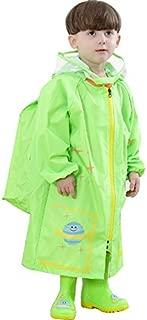 YOUDirect Kids Raincoat - Cartoon Waterproof Hooded Rain Jacket Children's Poncho Teens Rainwear with School Bag Cover