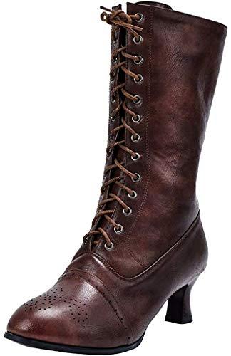 LIHAEI Damen GeschnüRte Stiefel Leder Braun Stiefeletten Geschnitztes Boots Mit 5.5 cm Absatz Weinglas Winter Booties