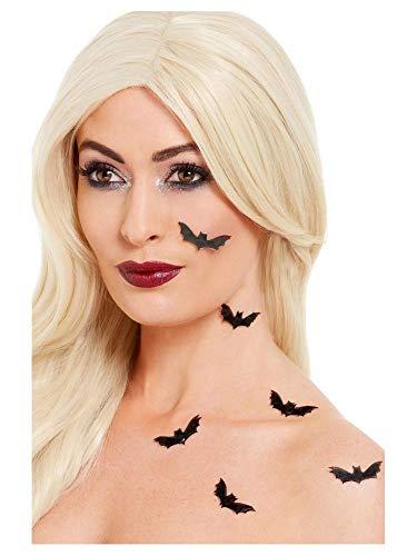 shoperama 6 Selbstklebende 3D Fledermaus Sticker zur Deko von Haut und Haaren Bat Kostüm-Zubehör Tattoo Halloween