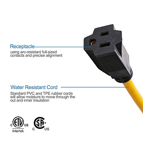 "TREKPOWER Dogbone Heavy Duty RV Power Adapter, 30 Amp to 15 Amp With Twist Lock,12"",12/3"