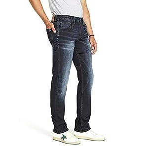 Buffalo David Bitton Men's Six Slim Straight Jean, authentic and deep indigo, 34 x 30