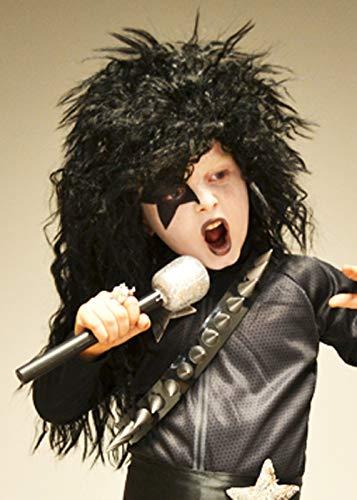 Magic Box Peluca Negra Estilo años 1970 Glam Rock Kiss para niños
