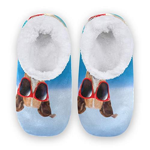 TropicalLife FELIZM - Pantuflas de casa con diseño de animales para perros, gafas de sol para el hogar, antideslizantes, para interiores y exteriores, para hombres y mujeres, color, talla Medium