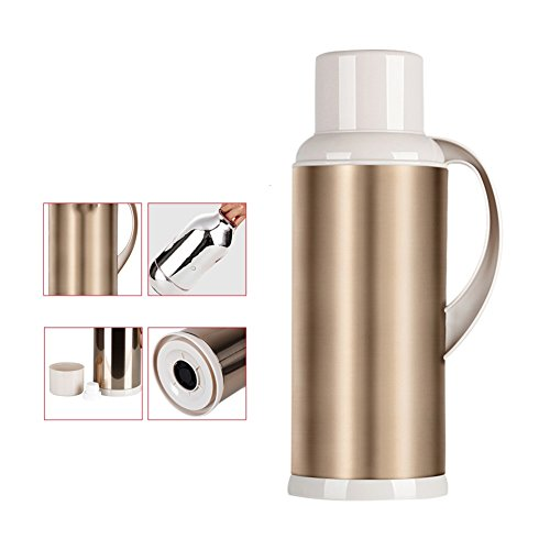 European simpLe Vacuum fLask SoLid coLor kettLe Thermos Vacuum fLask,Large capacity Home heating kettLe Thermos fLask InsuLation pot ALL steeL thermos fLask Hot water bottLe2L-C 13.5x38cm(5x15inch)