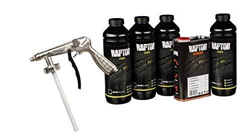 UPOL RAPTOR schwarz Pick Up Transportflächen Fahrzeug Beschichtung schwarz 3,79 Liter + AllorA Unterbodenschutzpistole
