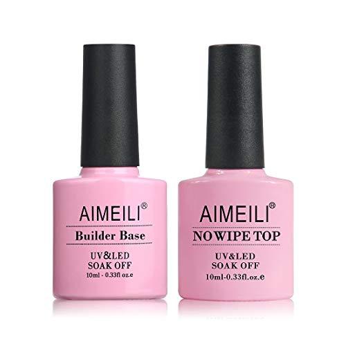 AIMEILI Gel Nail Polish Builder Base and No Wipe Top Set Soak Off UV LED Gel Nail Lacquer