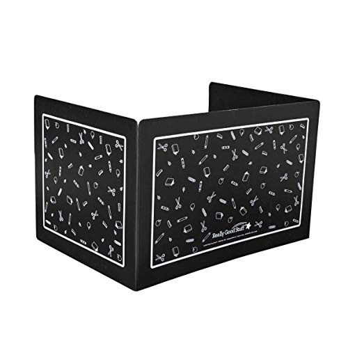 Really Good Stuff Plastic Privacy Shields for Student Desks – Single - Large - Study Carrel Reduces Distractions - Keep Eyes from Wandering During Tests, Black School Tools