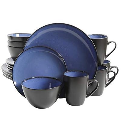 Gibson Home 16 Piece Reactive Stoneware Soho Round Dinnerware Set, Blue - 109536.16R