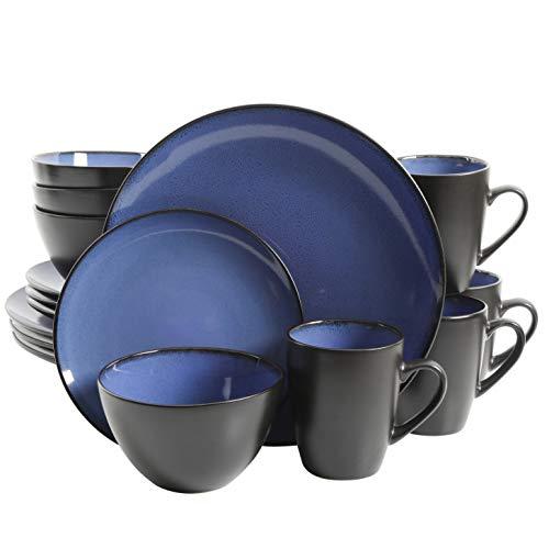 Gibson Home 16 Piece Reactive Stoneware Soho Round Dinnerware Set, Blue