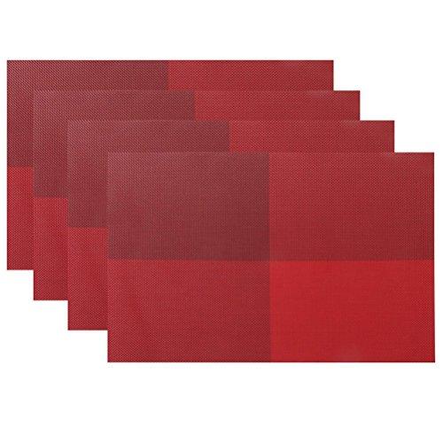 Jeu de tapis table de 4, isolation de Set de table PVC anti-dérapant isolation lavable revêtement protecteur pour Table tapis pour Table de cuisine(Rouge)