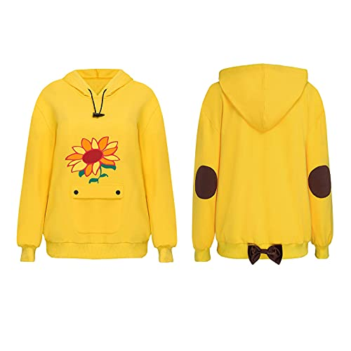 LOADREAM Ai Ohto Hoodies Girls Women Wonder Egg Priority Cosplay Japanese Cute Anime Pullover Hooded Sunflowers Yellow Tops (XL, Ai Ohto Hoodies for Girls Unisex Adults)
