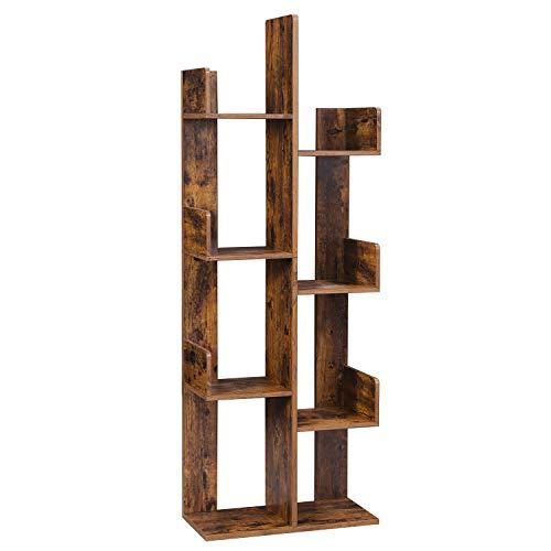 VASAGLE Bücherregal im Baumform, Standregal mit 8 Fächern, Aufbewahrungsregal, 50 x 25 x 140 cm, mit abgerundeten Ecken, vintagebraun LBC66BXV1