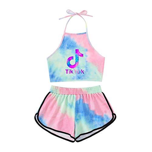 Tik Tok Frauen Badeanzug Mädchen Sexy Bikini Top + Shorts Set Halfter Damen Schwimmkostüm Strand Badeanzüge Hosenträger,19-L