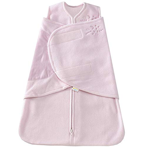 HALO Micro-Fleece Sleepsack Swaddle, 3-Way Adjustable Wearable Blanket, TOG 3.0, Soft Pink, Newborn, 0-3 Months