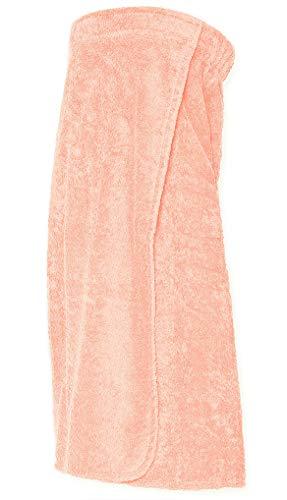 Arus Saunakilt für Damen 100% Bio-Baumwolle-Frottee mit Gummizug und Klettverschluss Größe: L/XL, Farbe: Rosa