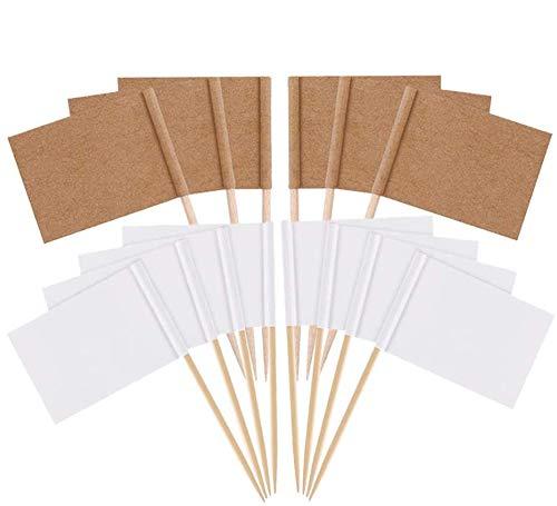 Lifreer 200 banderas de palillo de dientes, blanco y papel kraft para fiestas, etiquetas de comida para bufés, cupcakes, etiquetas de queso