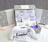 Geschenk Geburt Schwangerschaft, Baby-Box für Mädchen & Junge, Baby-Tagebuch, Meilenstein-Karten.