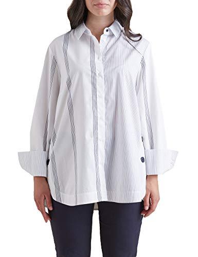 Elena Mirò : Camicia in Popeline a Righe Bianco 46 (37) Donna