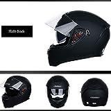 QXFJ Fullface Helm Integral-Helm Full Face Klapphelm ABS Helm Doppellinse Praktische Schnalle Hut Regengummistreifen Einstellbare EntlüFtung Leicht Atmungsaktiv Herausnehmbares Futter