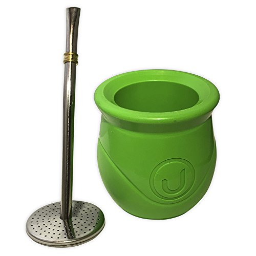 "Yerba Mate with filter and Yerba""take out"" - Self-Clean -Spoon included (Green)"