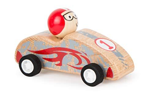 Small Foot 11147 Rückziehflitzer Rennauto Rot aus FSC 100%-zertifiziertem Holz, gummibereifte Räder für besten Grip beim Zurückziehen Spielzeug, Mehrfarbig