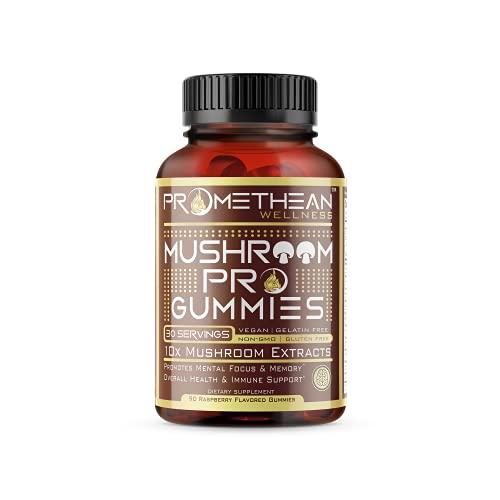 10 Mushroom Supplement Complex Gummies 50% More 90ct 3750mg 10:1 Extract Lions Mane, Cordyceps, Turkey Tail, Shitake, Reishi, Shiitake, Lion's Mane, Chaga Mushrooms Powder, Focus, Memory, Immunity