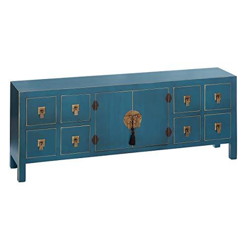 Mueble de TV de 8 cajones y 2 Puertas Oriental Azul de Madera para salón Sol Naciente - LOLAhome