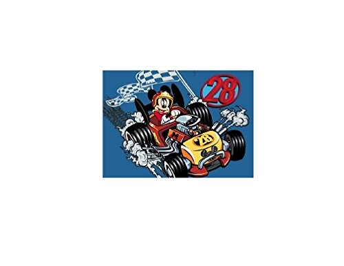 Bavaria Home Style Collection Mickey Mouse - Micky Maus - Auto - Rennauto - Kinderteppich Teppich Kinderteppich Kinder Teppich Spielteppich darf in keinem Kinderzimmer fehlen 95 x 133 cm
