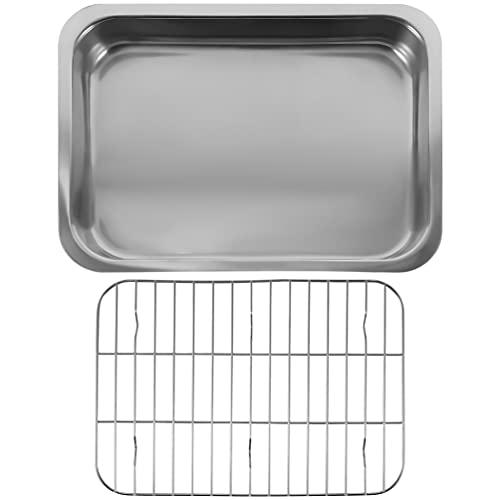 HEMOTON 1 Set Stainless Steel Baking Tray Baking Pan and Cooling Rack Chef Baking Sheet Rack Baking Pans Cookie Tray Baking Supplies 42X32X6. 5cm